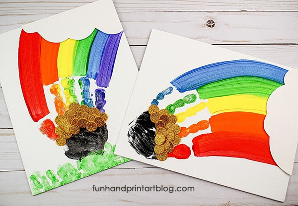 Vibrant Handprint Rainbow St Patrick's Day Canvas Keepsake