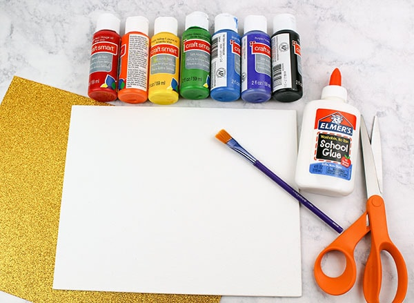 Paint Supplies for a Rainbow Craft for Kids