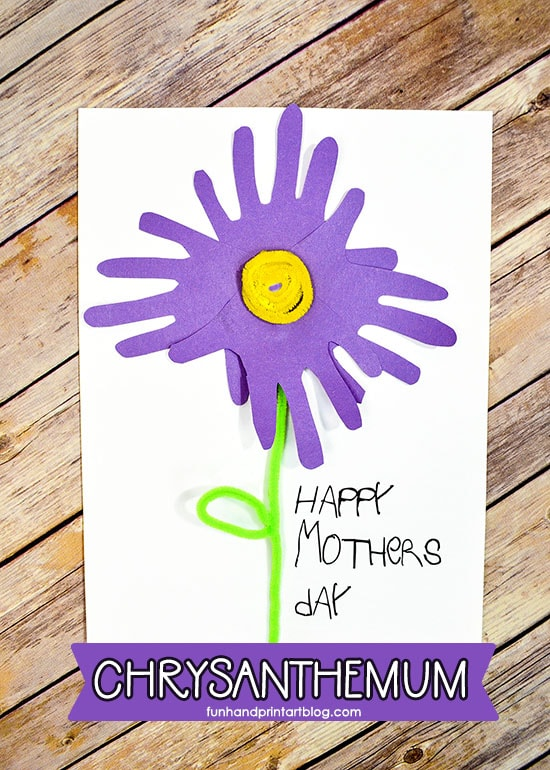 Traced Hand Chrysanthemum Paper Craft for Mother's Day