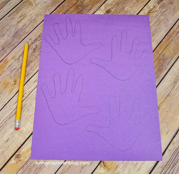 hand tracings for paper flower craft