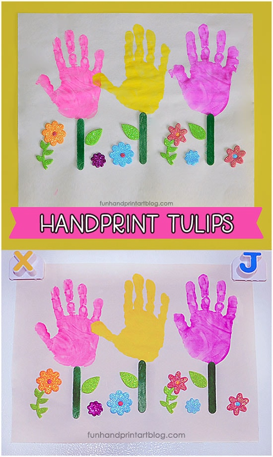 Handprint Tulips for Preschool or Kindergarten Garden Theme