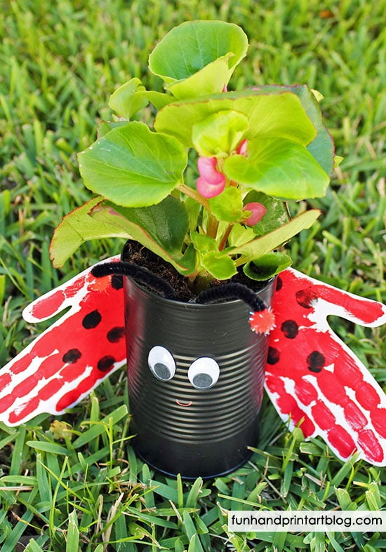 Handprint Ladybug Recycled Tin Can Planter Craft Tutorial