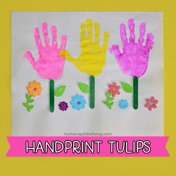 Handprint Flower Garden Craft for Preschoolers & Kindergartners - Tulips