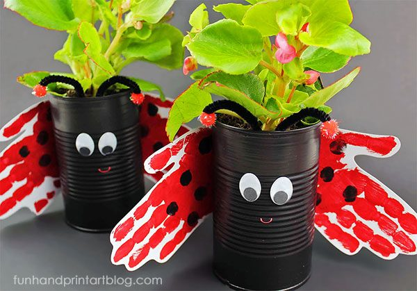 Recycled Tin Can Planter Tutorial - Handprint Ladybug