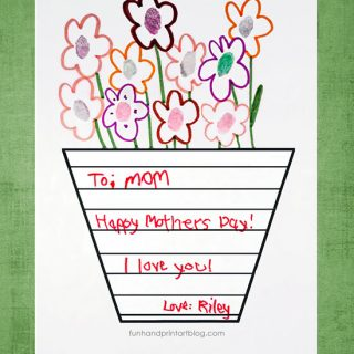 Printable Vase Template for Creating a Mother's Day Card with Fingerprint Flowers