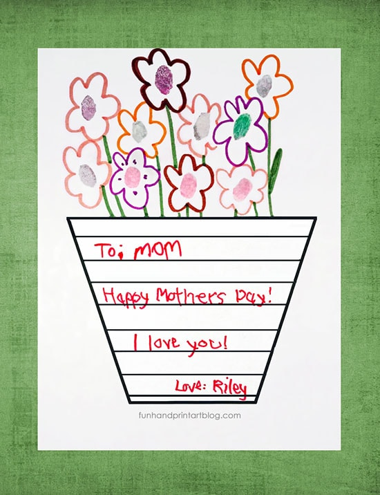 graphic relating to Printable Fingerprint Cards titled Printable Moms Working day Vase Template with Handwritten Observe
