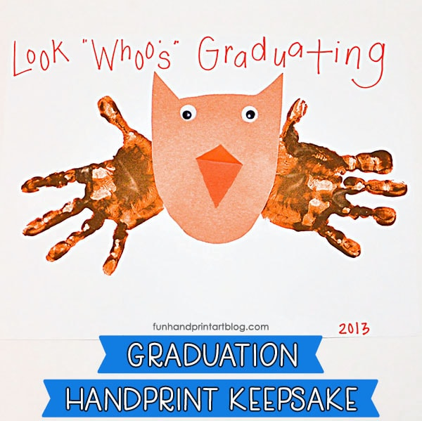 "Handprint Owl Art - Graduation Keepsake for Preschool & Kindergarten with ""Look Whoo's Graduating!"" Saying"
