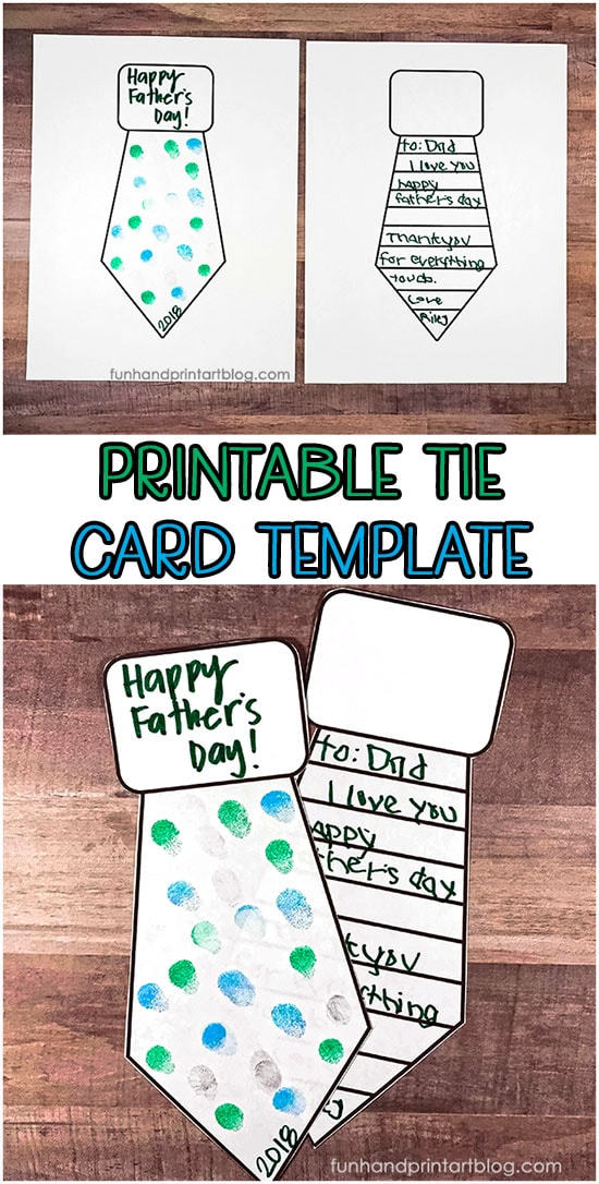 Printable Father's Day Tie Card Template for kids to make for their dad! Includes blank tie shape & one with lines for writing.