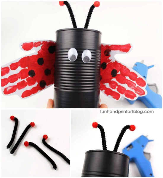 Use a tin can to create a ladybug planter - Use pipe cleaners to add antennae
