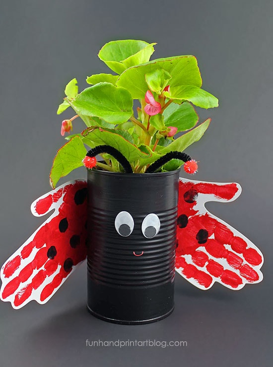 Recycled and Repurposed Tin Can Ladybug Planter with Handprint Wings