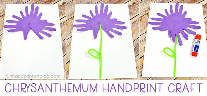 Paper Chrysanthemum Craft made with traced hand cutouts