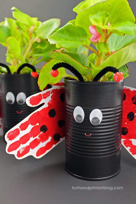 Hand Print Ladybug Tin Can Planter Craft