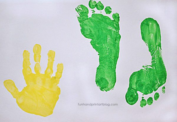 Handprint & Green Footprints for Teacher Gift
