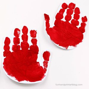red handprints for ladybug wings