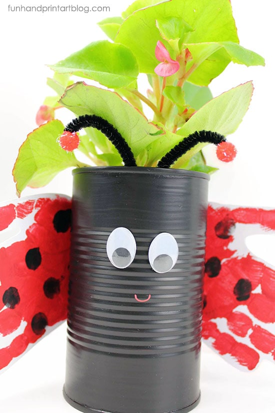 How to make a cute Tin Can Ladybug with Handprint Wings