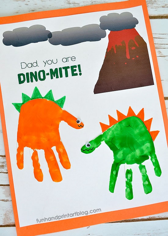 "Handprint Dinosaurs Father's Day Card with ""Dad, You're DINO-MITE!"" Printable Template"