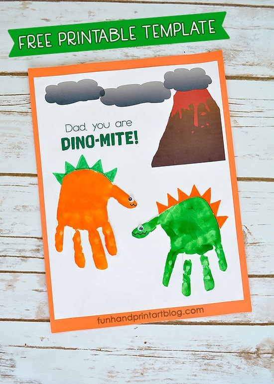 Handprint Dinosaur Printable Template for Father's Day Card - Dad, You Are DINO-MITE!