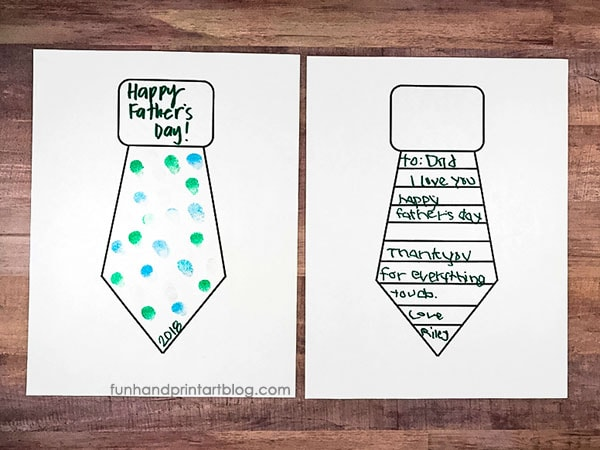 Printable Tie Template for Father's Day Card