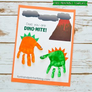 Printable Dinosaur Handprint Card Template for Father's Day
