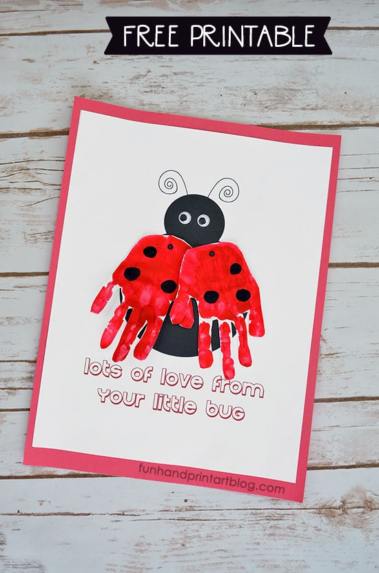 Ladybug Handprint Card Craft with Free Printable Template