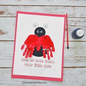 Ladybug handprint card with free template