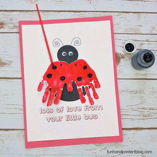 Printable Ladybug Card with Handprint Wings for Mother's Day or Valentine's Day