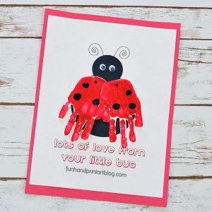 Printable Ladybug Handprint Card Template for Mother's Day or Valentine's Day