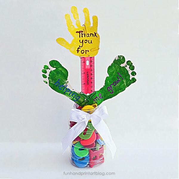 Thanks for Helping Me Grow Handprint & Footprint Teacher Gift Idea