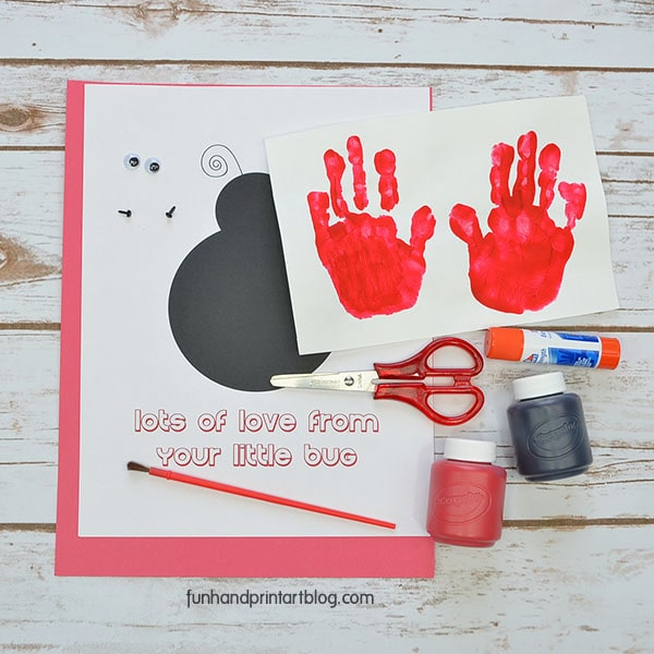 Supplies for creating a Handprint Ladybug Card with Moveable Wings