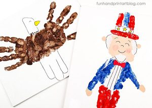 Kids 4th Of July Art Project: American Eagle & Uncle Sam Handprints