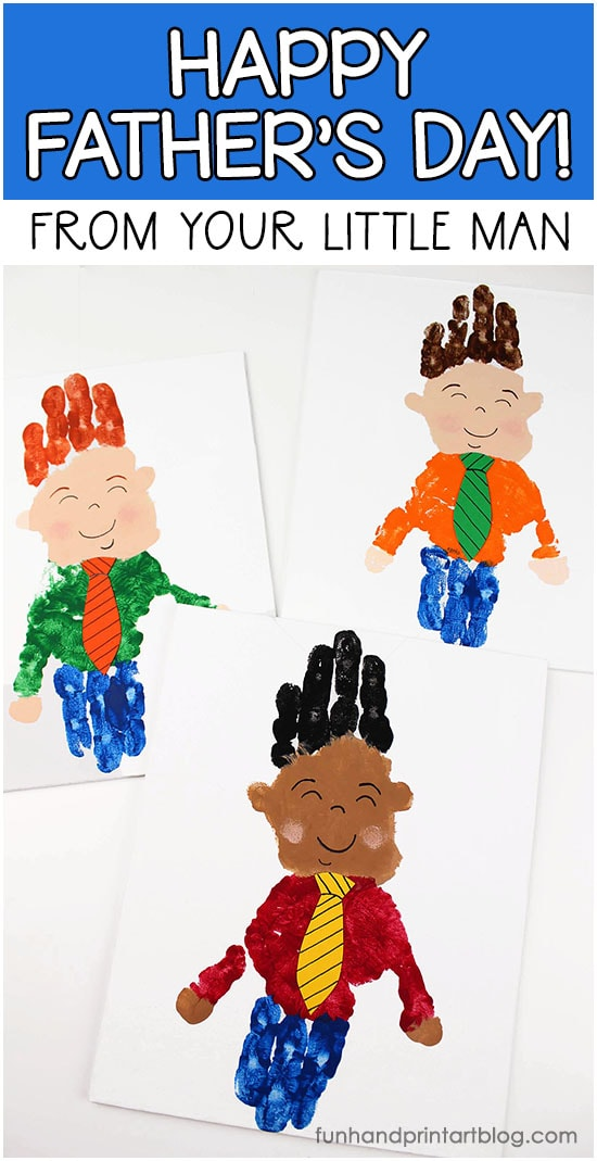 Canvas Art: Happy Father's Day From Your Little Man Handprint Craft