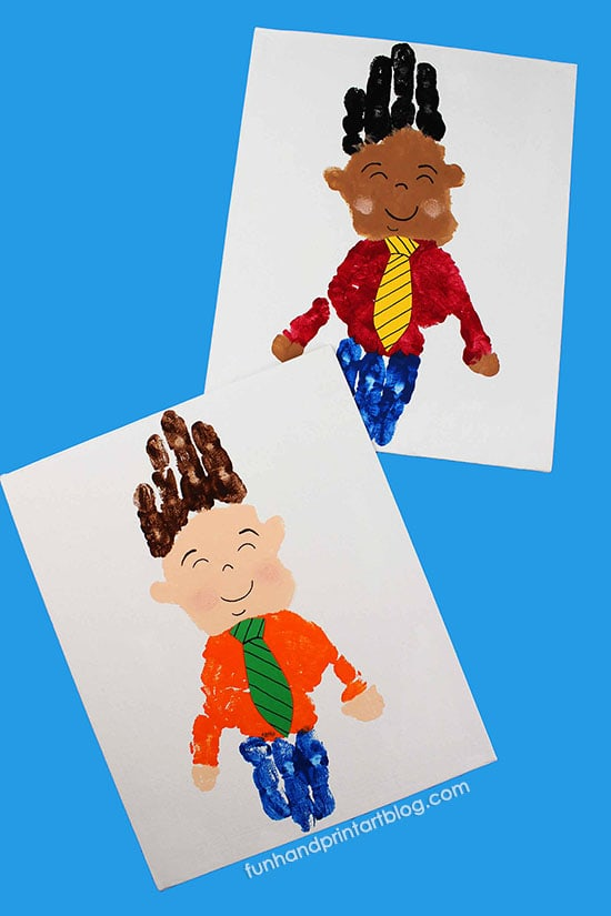 Double Handprint Little Man Father's Day Craft for Kids to Make Dad or Grandpa