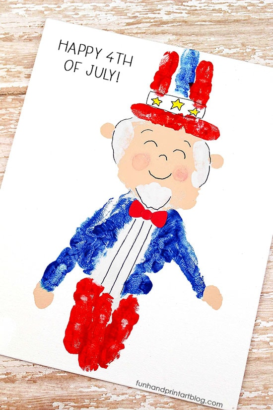 Super Cute Handprint Uncle Sam Craft Idea For Kids - Fourth of July