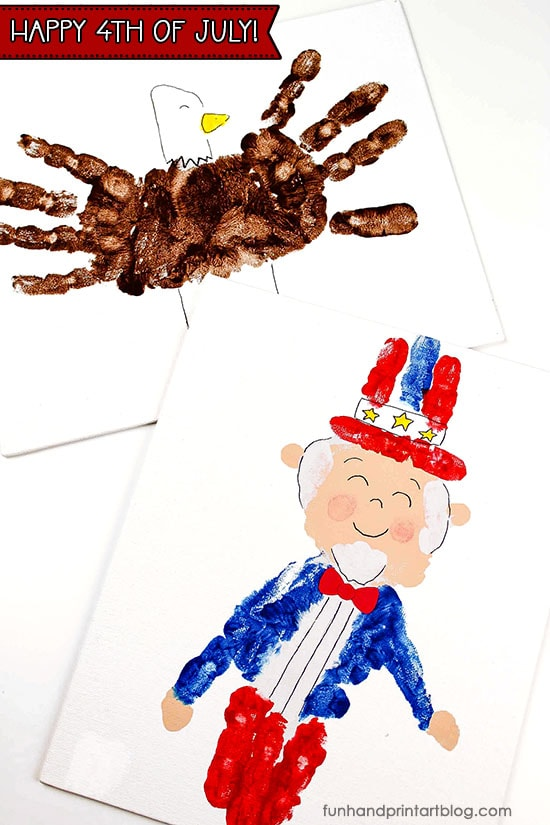 How to make Uncle Sam from Handprint + Patriotic American Eagle Craft for Kids