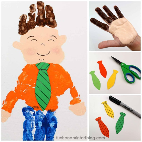 Handprint Little Man Canvas Craft - Also Cute for Father's Day Cards!