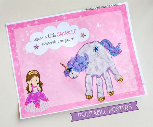 Leave a Little Sparkle Wherever You Go Printable Craft Poster for Unicorn Hand Print