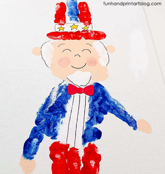 Handprinted Uncle Sam Craft for Preschoolers