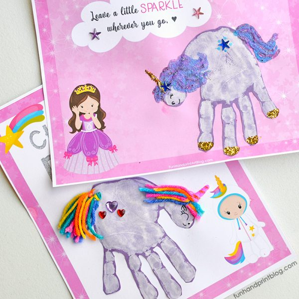 Unicorn Handprint Posters for displaying in a child's bedroom or in a memory book.