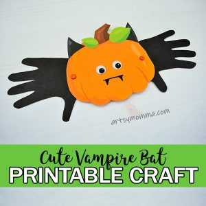 Cute Printable Halloween Craft: Handprint Vampire Bat Pumpkin Idea
