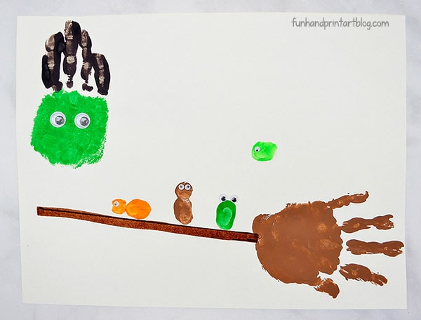Make A Handprint Broomstick With Thumbprint Characters