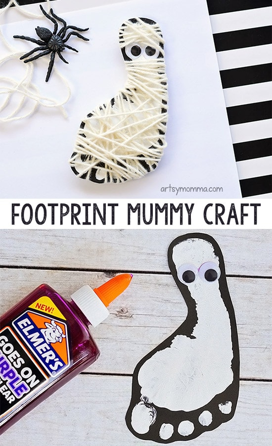 Yarn Wrapped Mummy Footprint Craft - Cute Halloween Decoration