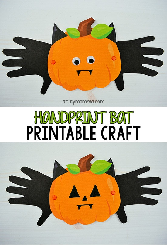 Printable Pumpkin Craft - Add handprint wings to create a cute vampire bat!!