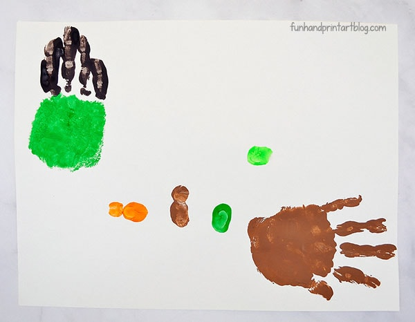 Make thumbprint book characters & a painted hand print for the witch & broomstick