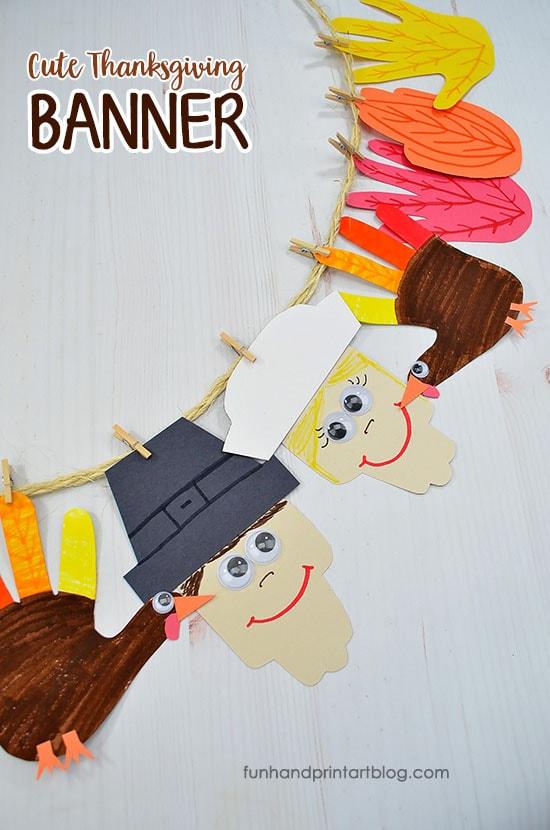 Cute Thanksgiving Handprint Banner For Preschoolers Kindergartners