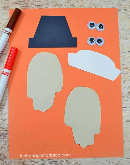 Paper Pilgrim Craft For Kindergarten - Cut shapes from construction paper