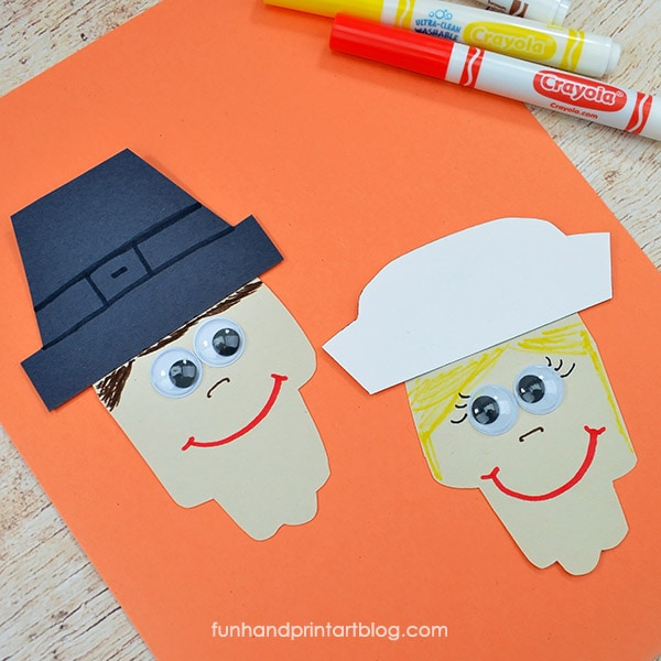 Paper Hand Cutout Pilgrims Thanksgiving Idea