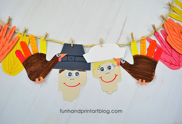 Thanksgiving Handprint Banner Craft made from construction paper