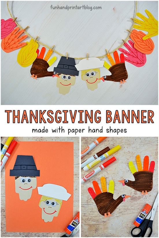 Kids Paper Thanksgiving Banner Craft Idea