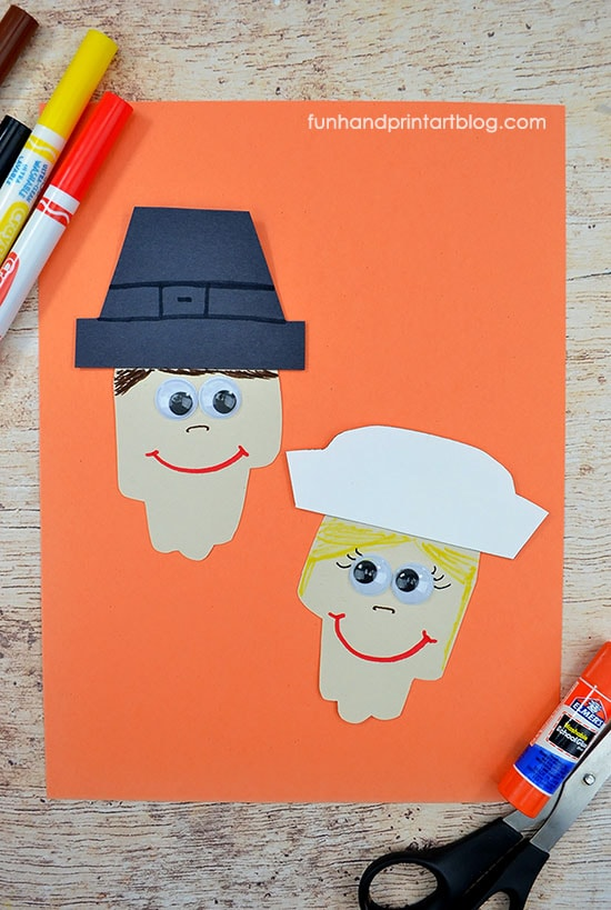 Kindergarten Paper Pilgrim Craft For Thanksgiving