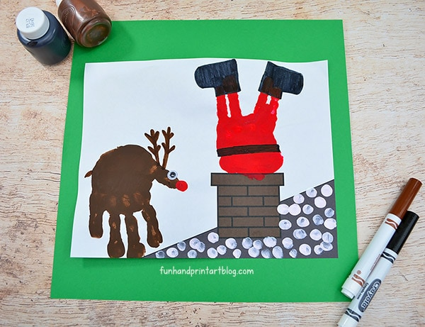 Handprint Santa Stuck In Chimney Craft Idea For Christmas